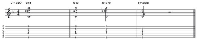 Example 39: Dominant 13 to 13B9 - Two ideas for the price of one this time! First up, a nice sounding dom 13 (R 3 5 b7 9 11 13) which can easily be manipulated to form a 'jazz-tastic' 13b9 voicing which increases the amount of tension felt as the V chord (C13) resolves to the I (Fmaj9). Nice!