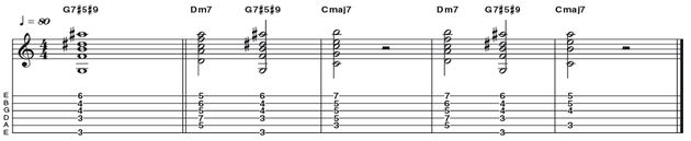 Example 45: Dominant 7#5#9 - Here is a great example of an altered dominant chord, in this case G7#5#9 (R 3 b5 b7 #9). In this instance it's used as a means to bridge the II and I chords in a major II V I (Dm7 G7 Cmaj7) as the alterations (#5 #9) work to create a moving chromatic line through the chords.