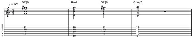 Example 46: Dominant 7#9 -  This is another altered dominant chord, a 7#9 (R 3 5 b7 #9) which works in exactly the same manner. The fingering is a cool variation on the common 'Hendrix' voicing. This one, in the key of G is played with no root note, but rather a doubled b7 interval (F).