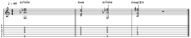 Example 47: D flat/G - This example is a really cool sounding slash chord variation on the altered tonality. The chord here can be seen two ways, either as Db triad over a G bass note, or as G7b5b9. Regardless of how you wish to term it, doesn't this voicing sound great?