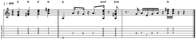 Example 9: The Dorian Tonality - This time we are going to generate the A Dorian sound (second mode of G major), by playing the triads of C and D (IV and V of G) against an A bass note. Theory buffs among you my realise that the triad of C (C E G) with an A bass note creates an Am7 chord, which is perfect fit for the Dorian tonality.