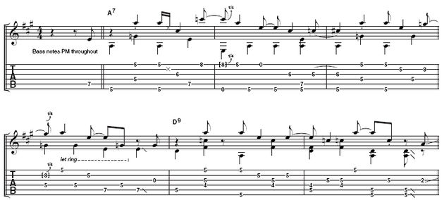 This sequence shows how Brian uses barre chords combined with fingerpicking to get his patented rockabilly sound.