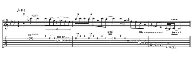 Using the C blues scale, this example typifies Billy's relaxed but 'in command' feel. Details to be aware of are the slow triplets (in bar 1), quarter-tone bends, staccato notes and pinch harmonics.