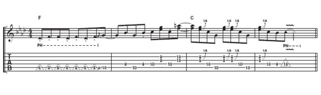 This example makes much more of a feature of the staccato pinch harmonics. It also uses some bluesy doublestops, some of which are bent a quarter tone to sound