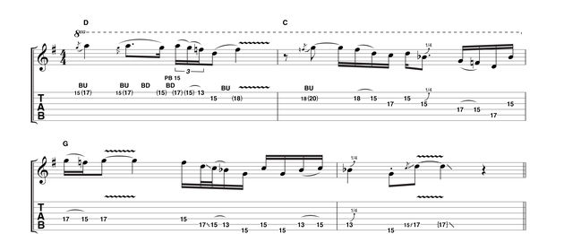 A little southern style rock influence here, forsaking the triplet flurries for a more grounded, consistent run of semiquavers. Make sure your intonation is good on those final notes and don't forget to keep the vibrato as aggressive as you can.