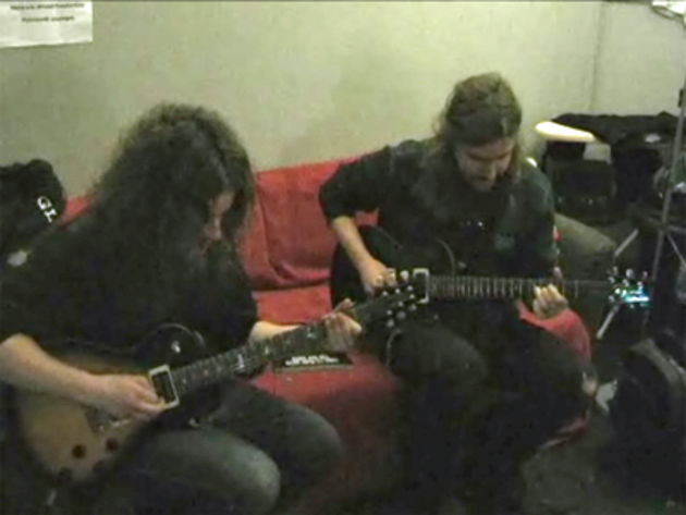 Fredrik Åkesson (left) and Mikael Åkerfeldt (right) backstage at Bristol Academy