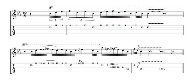 A quieter take (softer picking) over the same backing returns to the neck pickup. Keep your eye on the timing, but once again don't attempt to stay perfectly in time. Like all great blues players, Jimmy's phrasing often drifts across the beat.