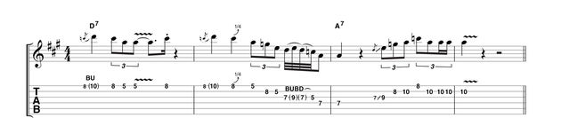 Moving to some mid-solo type phrasing, this example features triplets, staccato hits, quarter-tone bends and quick-fire bursts. In the early 1960s this was unheard of, especially while running around in the audience.