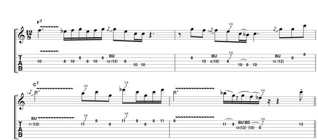 Here, you're emulating the type of phrasing that occurs naturally when using a capo, open tuning and lots of open strings. The quick-fire pentatonic runs are still a major feature, though this time tempered with some longer sustained notes. An ideal oppurtunity to work on your vibrato!