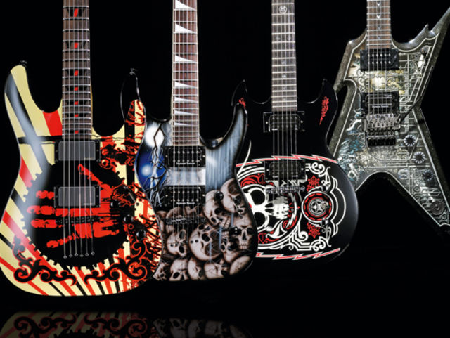 4 graphic finish metal electric guitars