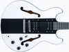 "£219; Laminated maple body with solid centre block; set maple neck; ebony fingerboard with 12th fret dot inlay; 24.75"" scale; 2x open-coil ASBO humbuckers; 2 x volume, 2 x tone; black hardware; white/black/white or black/white/black finish"