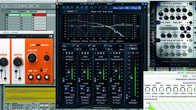 Blue Cat's MB-7 Mixer 2 lets you split a signal into frequency bands and apply plugins to each