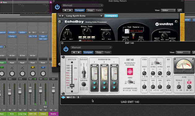 Here we're using SoundToy's EchoBoy delay and UAD's EMT 140 plate emulation reverb