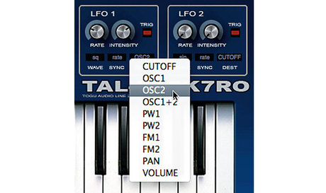 LFO destination parameters