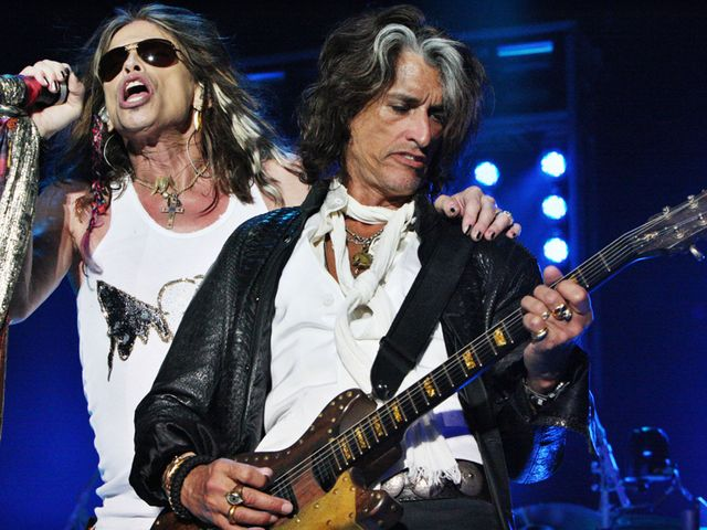 Steven Tyler and Joe Perry in concert last summer