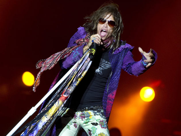 Steven Tyler on-stage with Aerosmith in 2010.
