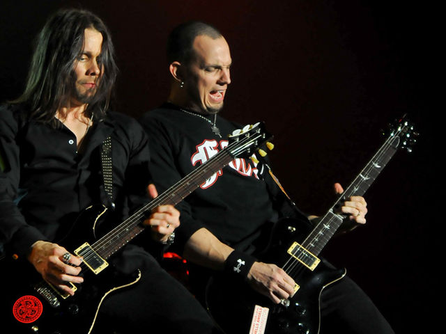 Myles Kennedy and Mark Tremonti trade licks at London's Wembley Arena, November 2011
