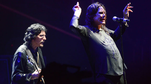 Black Sabbath's Tomy Iommi (left) and Ozzy Osbourne on stage at Lollapalooza in Chicago, August 2012.
