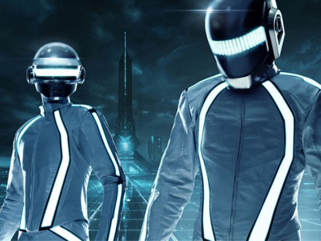 Daft Punk will also make a cameo appearance in Tron Legacy, as this just-released photo sort of proves.
