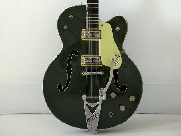 All in the family: Stewart has played this Gretsch Country Club Cadillac Green model since 1976, and now his son is using it