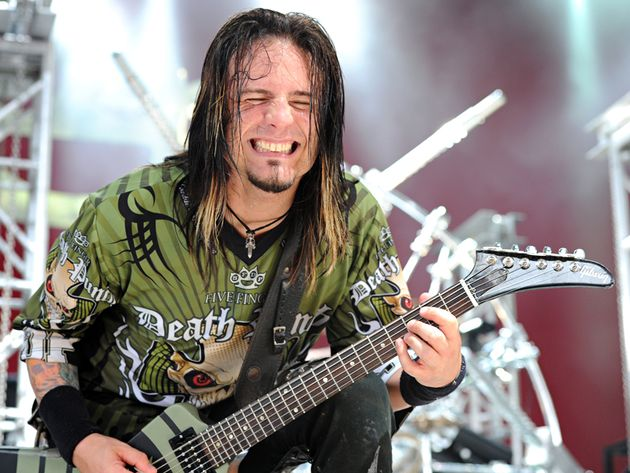 Jason Hook of Five Finger Death Punch performs during the 2010 Rockstar Energy Drink Mayhem Fest at Riverbend Music Center in Cincinnati, Ohio