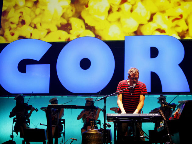 Damon Albarn plays a Roland synth on stage in New Jersey, but the new Gorillaz album was an iPad-only project.