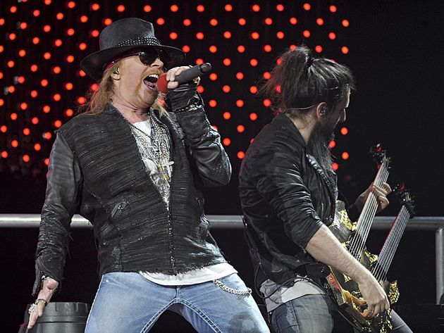 Axl and Bumblefoot onstage