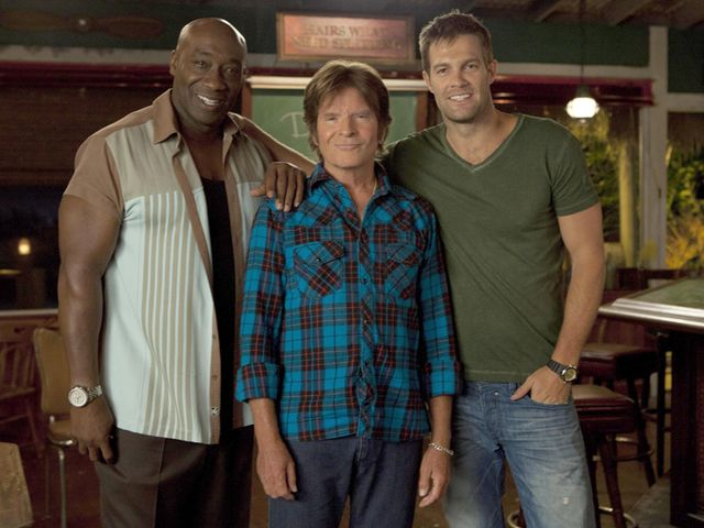 Fogerty is flanked by The Finder stars Michael Clarke Duncan and Geoff Stults