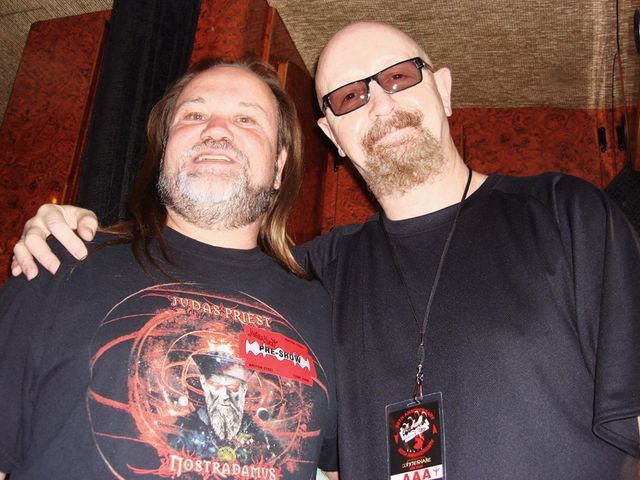 Jim Bartek and Rob Halford hang before the concert