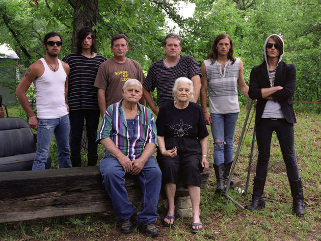 "Three generations of Followills: Nathan, Matthew, Cameron ""Cambo"", Ivan Leon, Caleb, Jared, (front row) Leon and Mildred Followill"