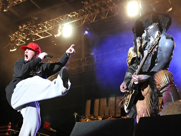 Durst and what could be guitarist Wes Borland on stage in Ohio