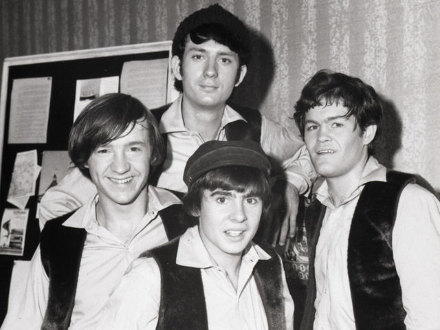 Davy Jones (bottom center) with (from left) Peter Tork, Mike Nesmith and Micky Dolenz