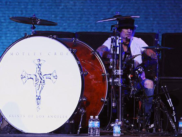 Honestly, we're amazed Tommy Lee doesn't kill himself behind his DW 40 x 16 bass drum