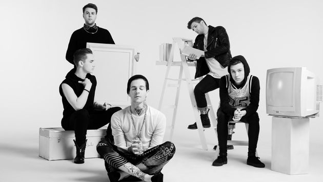 The Neighbourhood: (starting top left, clockwise) Jeremy Freedman, former drummer Bryan Sammis, Zach Abels, Jesse Rutherford and Mikey Margott