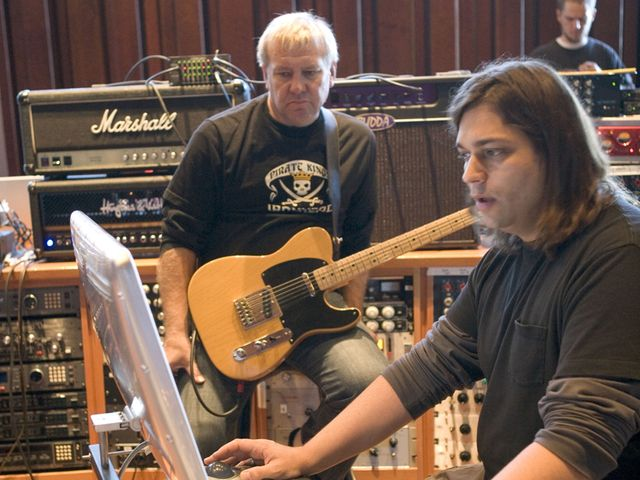 Rush producer Nick Raskulinecz with Alex Lifeson.