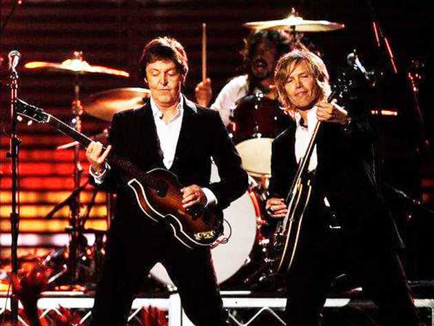 Brian Ray on stage with Paul McCartney at the 2009 Grammy Awards. (Check out Dave Grohl on drums!)