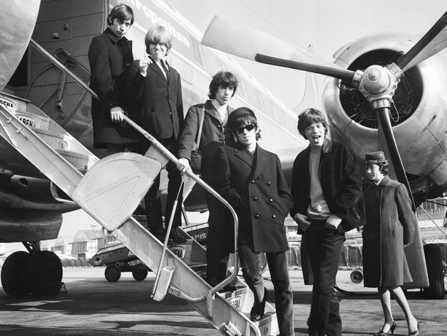 "The Rolling Stones on tour in 1965, with ""darling"" Charlie, upper left"