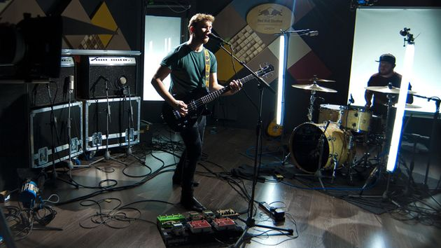 Royal Blood (Mike Kerr, left, and Ben Thatcher) perform at Red Bull Studios, London