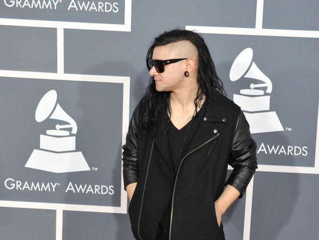 Skrillex arrives at the 2012 Grammy Awards.