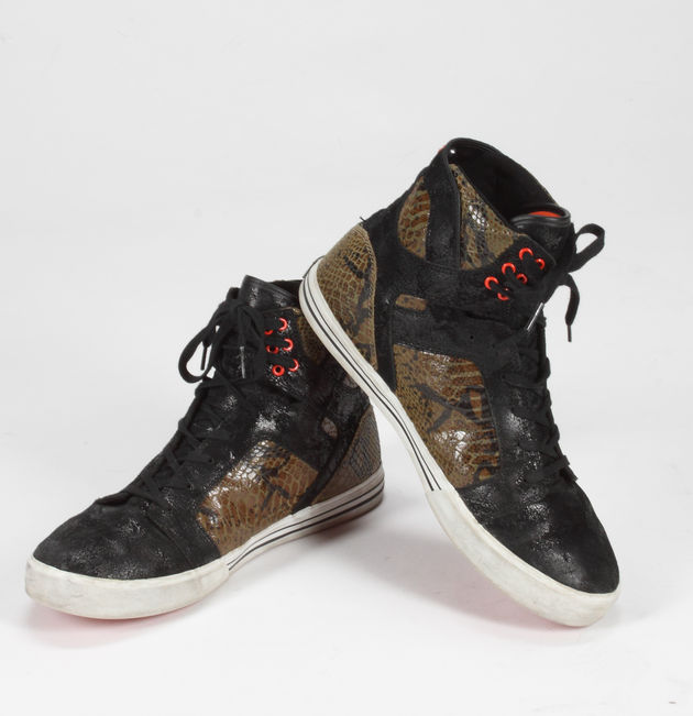 Lot 487: Slash-worn Superbowl XLV hightop sneakers