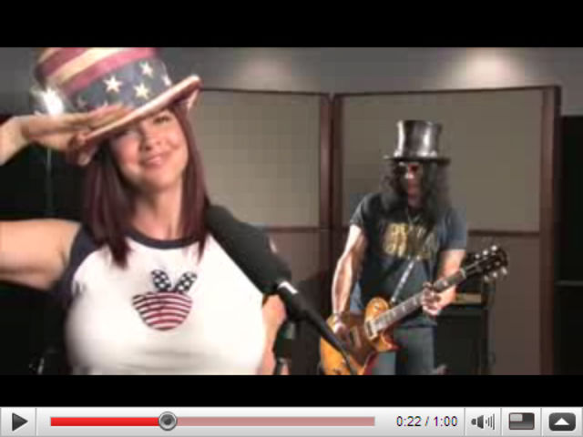 Slash and his wife Perla. She speaks out, he rocks out.