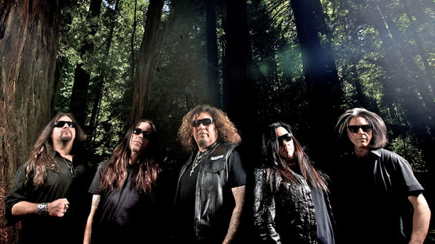 Present-day Testament: (left to right) Gene Hoglan,  Greg Christian, Chuck Billy, Eric Peterson and Alex Skolnick