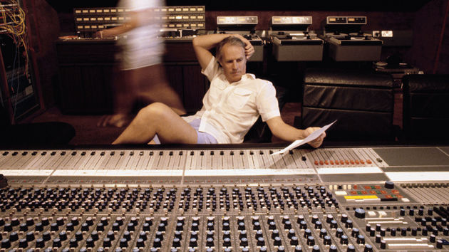 George Martin behind the console in the '80s