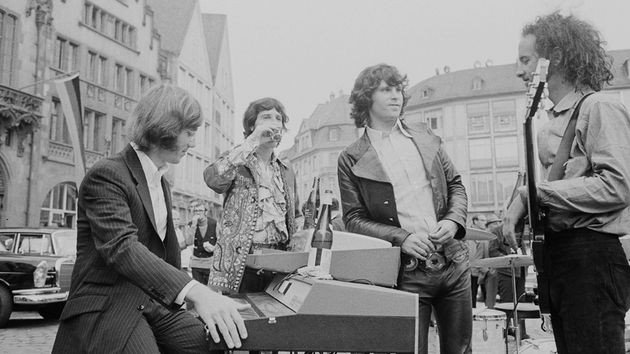 Ray Manzarek (left) with The Doors (John Densmore, Jim Morrison and Robby Krieger) in Frankfurt, Germany, 1968