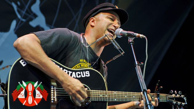 Well, he's got this guitar and he learned how to make it talk. Tom Morello aka The Nightwatchman on stage in Michigan, 2011.