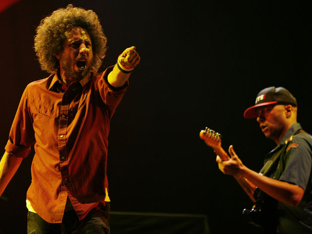 Rage's Zack de la Rocha and Tom Morello rally artists against Arizona's immigration law