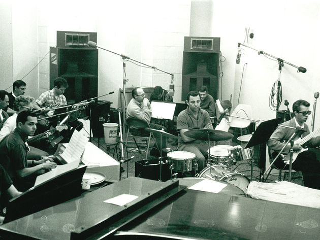 Drummer Hal Blaine in the center of a musical universe: a Phil Spector session