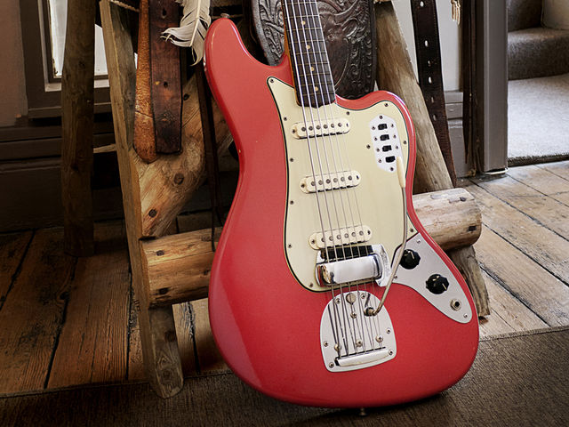 A wonderful Fiesta Red example in situ at Vintage And Rare Guitars in Bath, UK