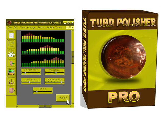 The Turd Polisher Pro GUI and its tasteful packaging.