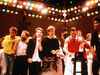 Live Aid performers (L-R): George Michael, Bono, Paul McCartney, Freddie Mercury and Julian Lennon (behind Mercury)